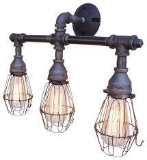 industrial bath lighting. Nelson Vanity 3Light Fixture With Wire Cages Industrialbathroomvanity Lighting Industrial Bath E