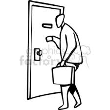 door doors enter entrance briefcase business man late early work knock help clip art people occupations