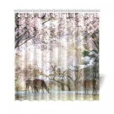 interestprint japanese cherry blossom home decor red mystic fl flower deer polyester fabric shower curtain bathroom sets with hooks