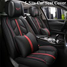 deluxe edition full seat pu leather car seat covers cushions black with red line