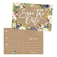 Blank Save The Date Cards Amazon Com 25 Rustic Floral Save The Date Cards For Wedding