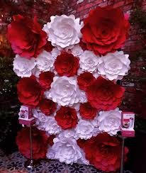 Paper Flower Wall Rental Red And White Paper Flower Wall 03 Click On The Picture For