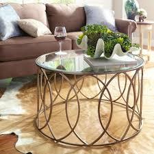 elana bronze iron round coffee table in