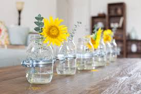 Glass Jar Table Decorations DIY Clamped Mason Jar Vase Centerpiece 7
