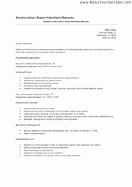Construction Superintendent Job Description Resume Template