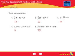 10 pre algebra solve each equation