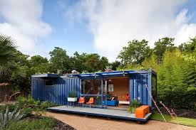 Container Guest House - blue shipping container