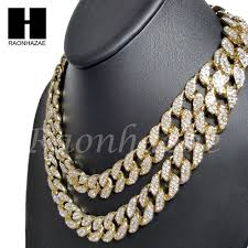 iced out 14k gold pt 15mm 8 5 24 miami cuban choker chain necklace bracelet ebay