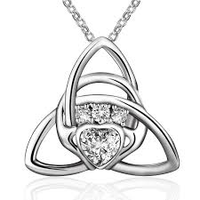 sterling silver irish celtic knot triangle love heart claddagh pendant necklace 18 cv184t6usan