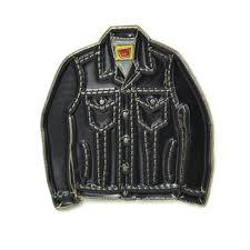 mini denim jacket soft enamel pin black dark grey by funtimes usa