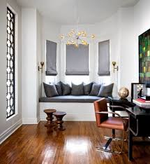 bay window desk home office modern. Home Office With Modern Furniture And Bay Window Seat Featured Grey Cushions Desk L