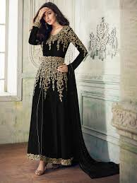 Designer Gown In Black Colour Black Colour Party Wear Designer Georgette Suit