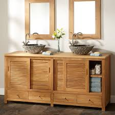 modern bathroom cabinet doors. Interior : Modern Brown Unfinished Wooden Bathroom Cabinet With Sliding Door Above Some Drawer Using Chrome Knobs And Doble Custom Washbawl Flanking Doors S