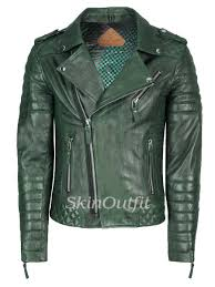 skinoutfit men s motorcycle leather jacket dark green