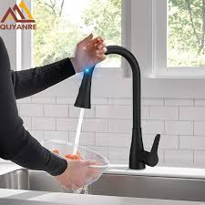 Touch kitchen faucets Lowes Quyanre Black Pull Out Sensor Kitchen Faucet Sensitive Smart Touch Kitchen Faucet Mixer Tap Touch Sensor Aliexpresscom Quyanre Black Pull Out Sensor Kitchen Faucet Sensitive Smart Touch