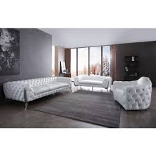 Contemporary living room furniture Trendy Divani Casa Catania Transitional White Leatherette Stainless Steel Sofa Set Mimis Fusion Of Flavors Modern Sofa Sets Contemporary Couches