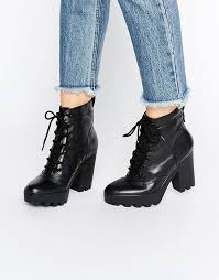 calvin klein jeans serena chunky heeled leather lace up heeled ankle boots