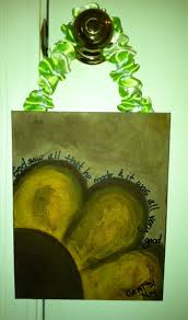 flower w scripture painted on thin canvas with acrylic paints florist stem wire ribbon hot glue for hanging
