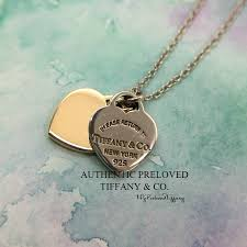 authentic tiffany co retired return to tiffany double mini heart gold necklace