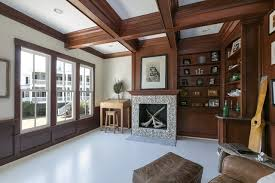Mahogany Dark Wooden Beams - Coffered Ceiling Design - Stained  beach-style-home-