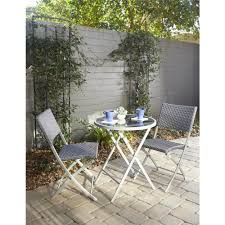 cosco delray transitional 3 piece steel blue gray woven wicker dining height folding patio