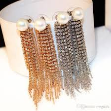 hot fashion jewelry titanium steel 18k rose gold zircon pearl diamond glittering flower tassel woman