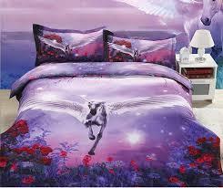 3d horse bedding set duvet cover set 3d bed sheet purple fl bedding sets queen size