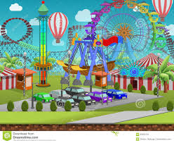 Amusement Park Design Game Seamless Cartoon Amusement Park Summer Landscape Vector