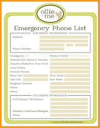 Emergency List Template Seraffino Com
