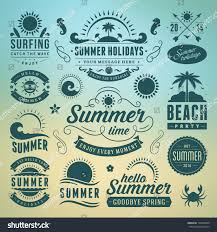typography templates summer design elements typography design retro stock vector