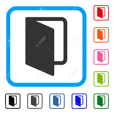open door icon flat grey pictogram symbol in a light blue rounded square stock