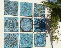 outdoor wall art garden decor set of 9 ceramic garden art ceramic wall art for garden ceramic tiles garden art turquoise 30cm on outdoor wall art ceramic with outdoor wall art bathroom wall decor ceramic tile by gvega