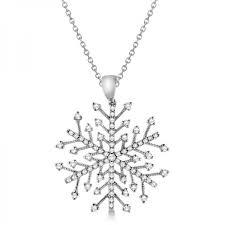 diamond snowflake pendant necklace in 14k white gold 0 30ct