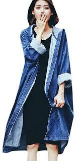 yayu women elegant hooded juniors long sleeve denim trench coat b01n3v08mj