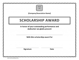 Scholarship Certificate Template Scholarship Certificate Template Word Cumed Org