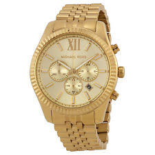 michael kors mens watch new michael kors mk8281 gold tone men s chrono lexington watch 2 y warranty