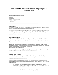 Word Thesis Template User Guide For Penn State Thesis Template Pstt