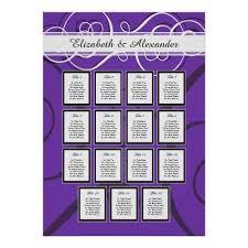 15 Table Seating Chart Elegant Purple Wedding 15 Table Seating Chart Zazzle Com