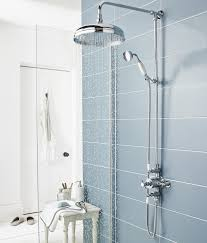 shower system against a tiled blue wall