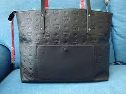 new mcm klara monogram black leather top zip medium leather tote bag per