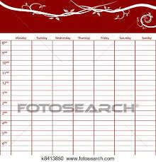 Weekly Time Management Task Chart Clipart K8413850