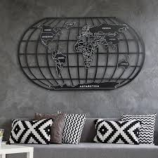 metal world map wall decor art black