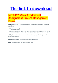mgt week individual assignment project management paper