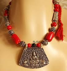red c beads necklace set antique silver laxmi pendant set