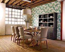 urban rustic furniture. wood dining room table with 6 fabric chairs wooden legs urban rustic furniture