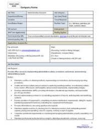Job Description Templates 8ws Org Templates Forms