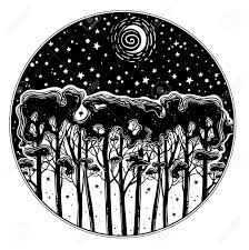 Night Starry Forest Of Tall Trees Silhouette Landscape Hand