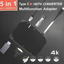 5-Port <b>5IN1</b> Type-C to HDTV+USB3.0+VGA+PD+Audio Adapter ...