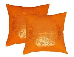Lushomes Red Ethnic <b>Cushion</b> Covers with Gold <b>Foil</b> Print (<b>2 Pcs</b> ...