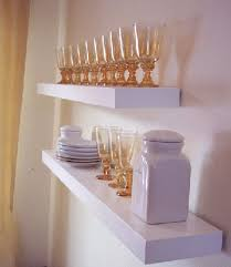 do it yourself floating shelves created by ana white looking pretty with glassware and plates